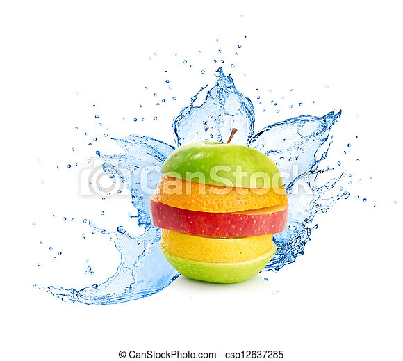 Fruit mix in water splash - csp12637285