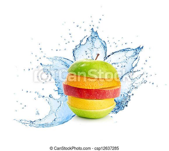 Fruit mix in water splash - csp12637285