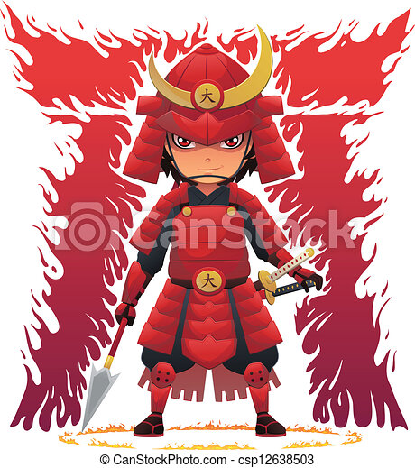 Vector Clipart of Red Armor Samurai - Image of Japanese samurai ...