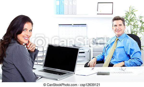 Business woman with laptop, computer. - csp12639121
