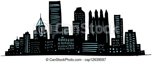 Pittsburgh Skyline Drawing Cartoon Pittsburgh