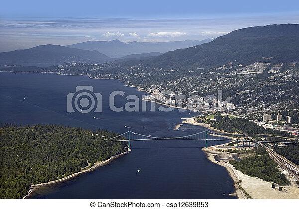 Vancouver - Lions Gate Bridge, West Vancouver and Coast Mountains - csp12639853