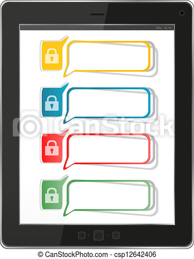 security and antivirus protection concept: black glossy tablet pc isolated on white background - csp12642406