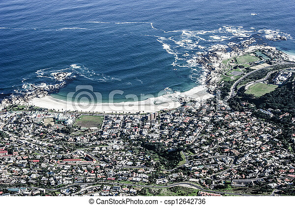 View of Table Mountain with city (Cape Town, South Africa)  - csp12642736