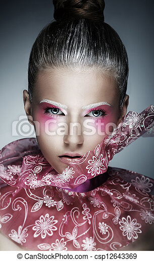 Stylish Woman with Creative Face - Art. Bright Purple Makeup - csp12643369
