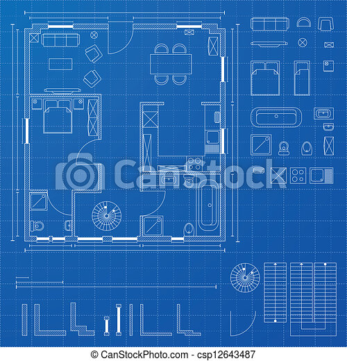 Vector Of Blueprint Elements Detailed Illustration Of A