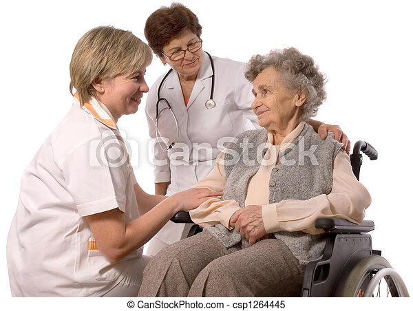 elderly woman in wheelchair - csp1264445