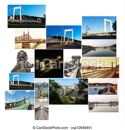multishot collage of of Budapest bridges - csp12646441