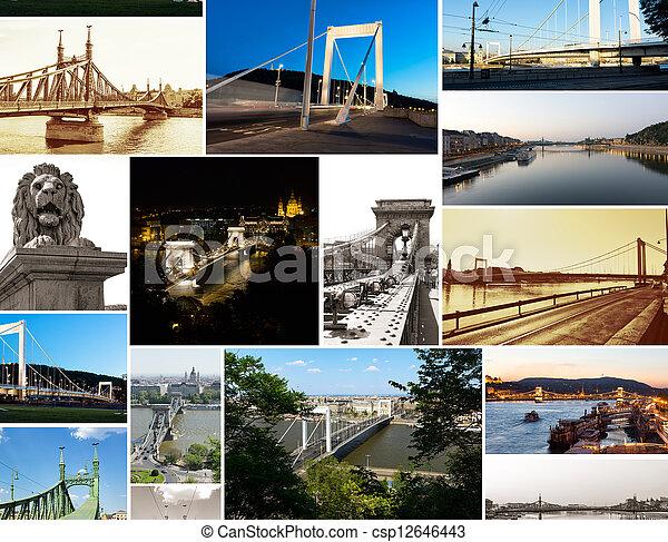 multishot collage of of Budapest bridges - csp12646443