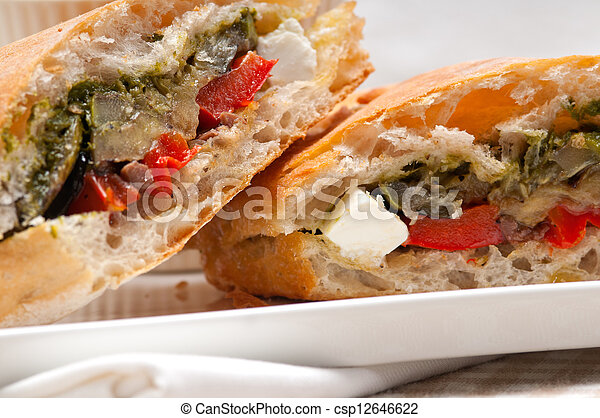 ciabatta panini sandwichwith vegetable and feta - csp12646622