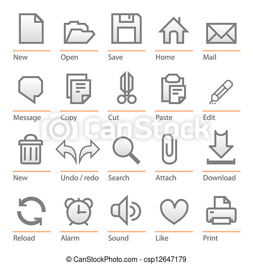 Universal computer software icon set - csp12647179