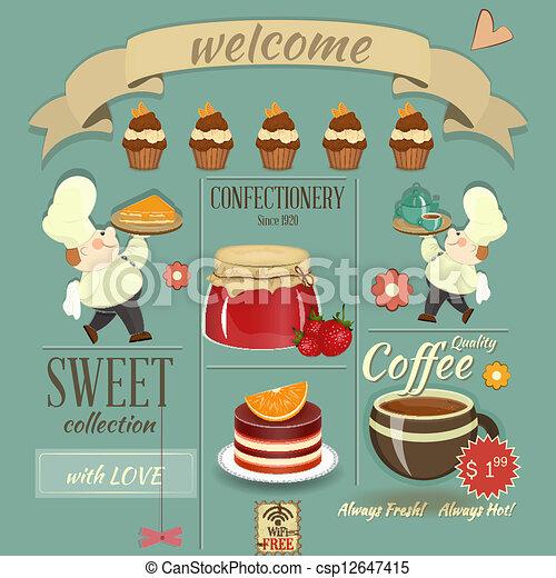 Retro Art Cafe Sweet Cafe Menu Retro Design