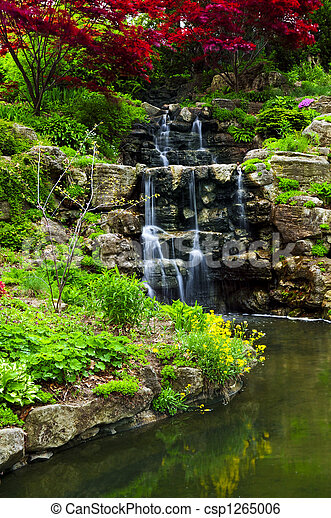 Cascading waterfall and pond - csp1265006