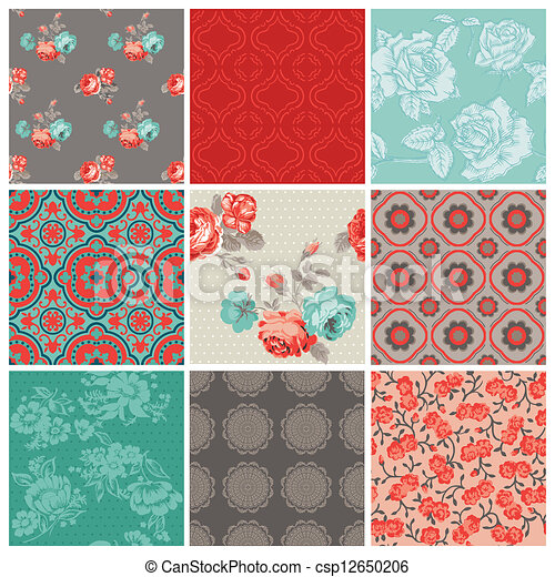 Seamless Vintage Flower Background Set- for design and scrapbook - in vector - csp12650206