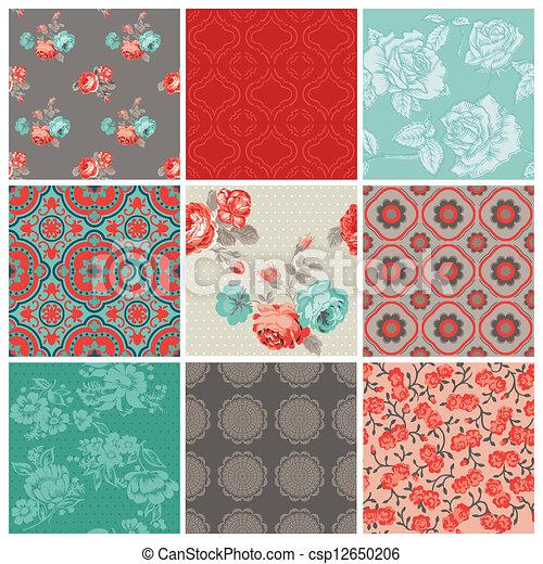 Seamless Vintage Flower Background Set- for design and scrapbook - in vector - csp12650206