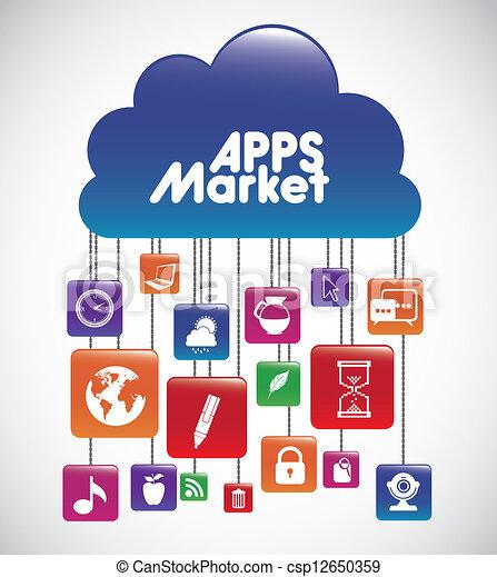 clipart vektor von apps markt abbildung von heiligenbilder von tablette csp12650359. Black Bedroom Furniture Sets. Home Design Ideas