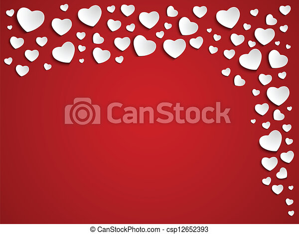 Valentine Day Heart on Red Background - csp12652393