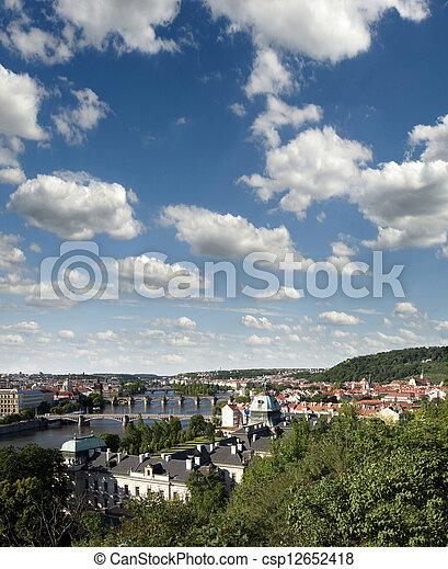 Prague - Czech Government Building, Petrin Hill, Vltava River and bridges - csp12652418