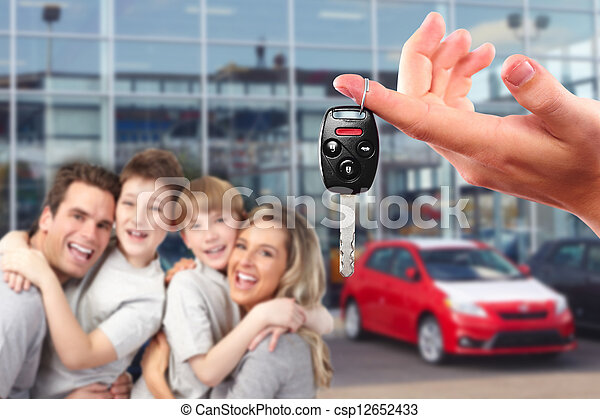 Happy family with a new car keys. - csp12652433