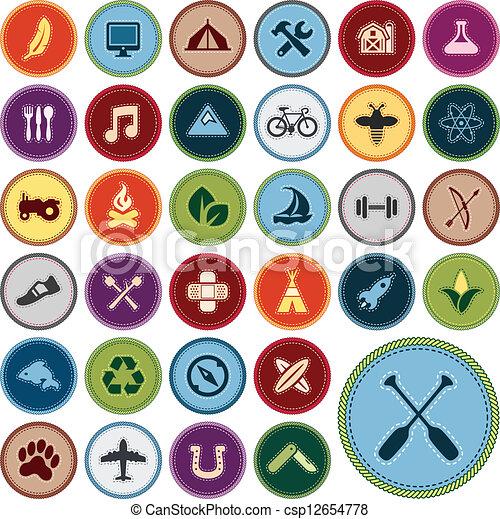 ilustraciones vectoriales de m u00e9rito  insignias conjunto boy scout logo svg boy scout logo colors