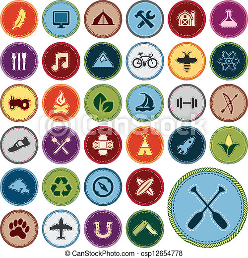 vectors illustration of merit badges   set of scout merit