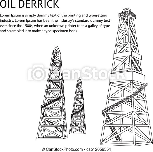 Oil Tower Drawing Oil Rig Backdrop Clipart