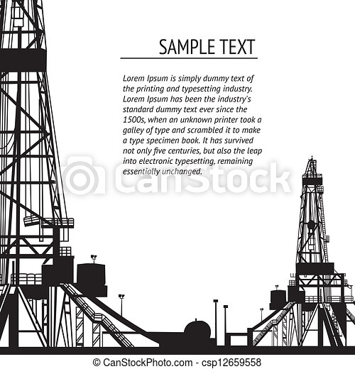 Clipart Vector of Oil rig banner for your text. Vector ...