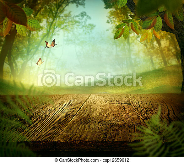 Spring design - Forest with wood table - csp12659612