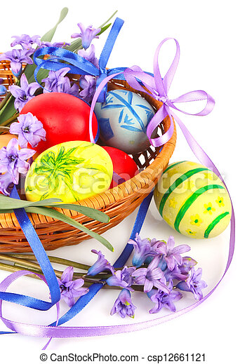 Easter eggs with flowers - csp12661121