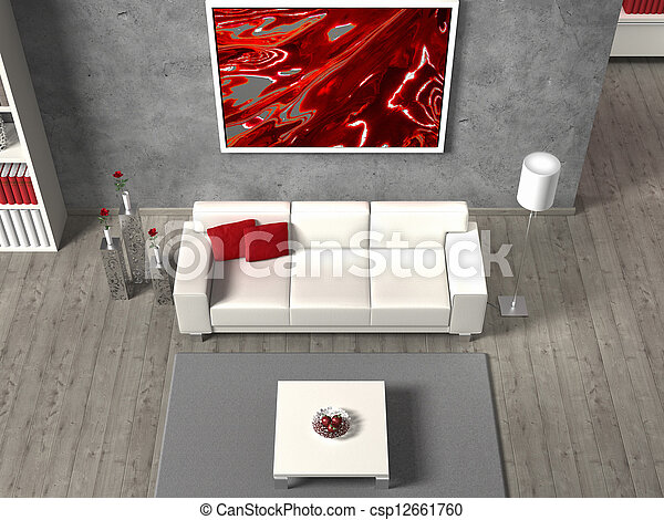 modern fictitious living room in aerial view, the image in the frame is created by me, no rights are infringed - csp12661760