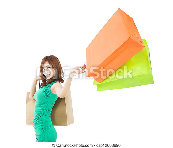 young woman holding shopping bag - csp12663690