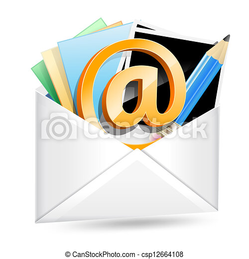 envelope with email sign, photos and pencil - csp12664108