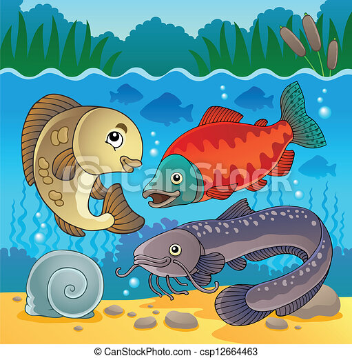 Clip Art Vector of Freshwater fish theme image 5 - vector ...