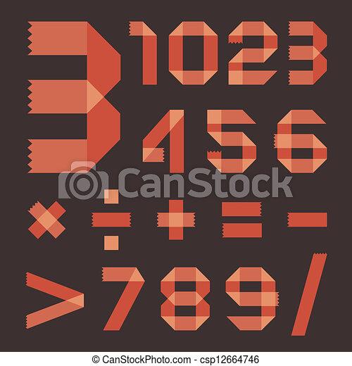 Font from reddish scotch tape - Arabic numerals - csp12664746