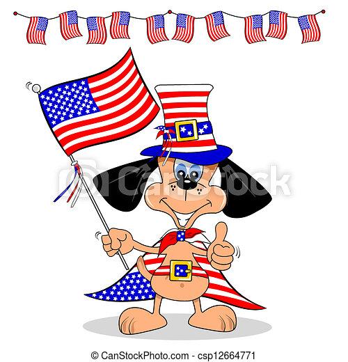 美国人, 卡通漫画, 狗 - csp12664771图片