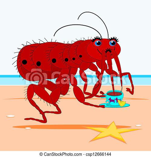 EPS Vector of Flea drinking tea - Cartoon flea, drinking tea by the sea csp12666144 - Search ...