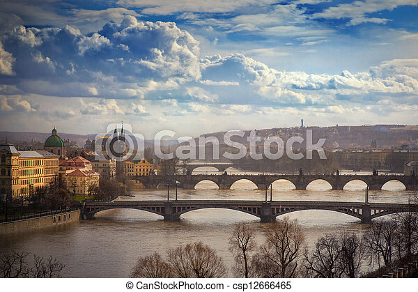 view on bridges in Prague, Czech Republic - csp12666465