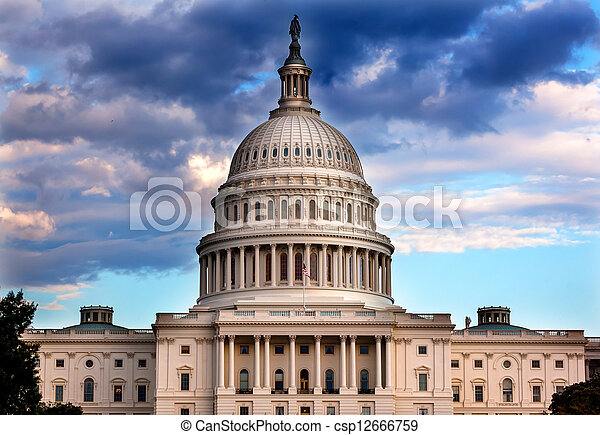 US Capitol Dome Houses of Congress Washington DC - csp12666759