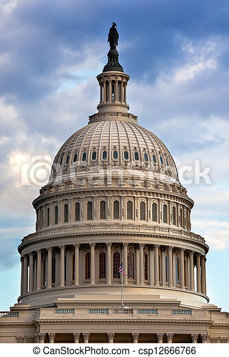 US Capitol Dome Houses of Congress Washington DC - csp12666766