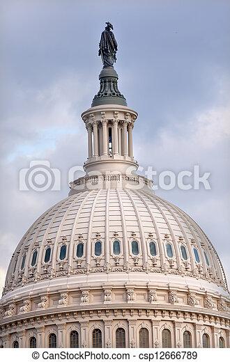 US Capitol Dome Freedom Statue Washington DC - csp12666789
