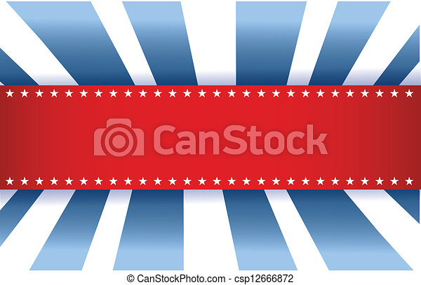 American Flag Design, red white and blue - csp12666872