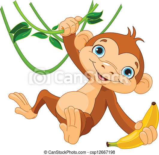 Baby monkey on a tree - csp12667198