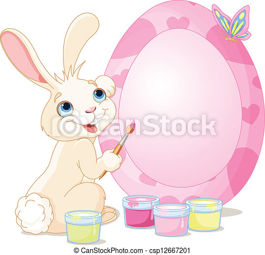 Easter Bunny painting Easter Egg - csp12667201