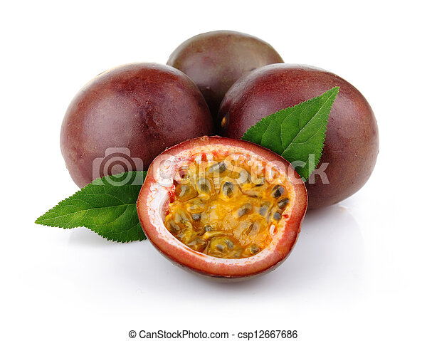Fresh passion fruit with green leaves isolated - csp12667686