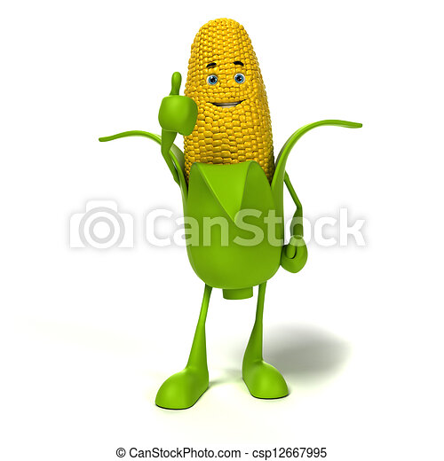 3d rendered illustration of a corn cob character - csp12667995