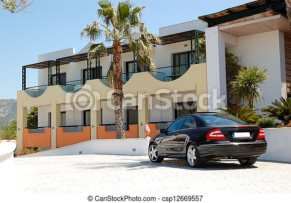 The car parked near modern luxury hotel, Thassos island, Greece - csp12669557