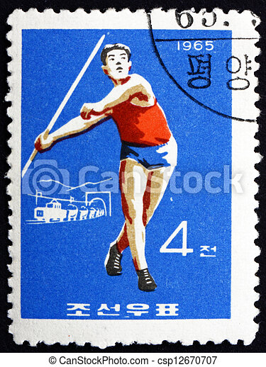 Postage stamp North Korea 1965 Javelin, Olympic sports - csp12670707