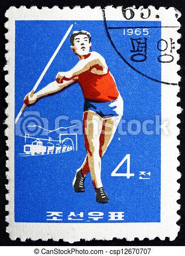 Postage stamp North Korea 1965 Javelin, Olympic sports - csp12670707