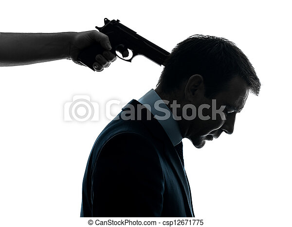 Picture of business man with gun pointing to his head ...