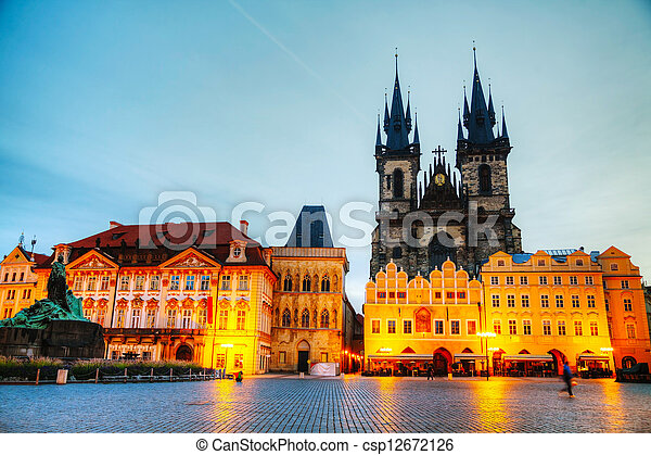 Church of Our Lady before Tyn in Prague at sunrise - csp12672126